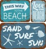 Beach Tin Signs Collection Stock Photo