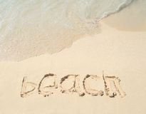 Beach title drawing on the sand beach Stock Image