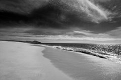 Beach at Todos Santos central Baja California Mexico BCS - black and white Stock Photos