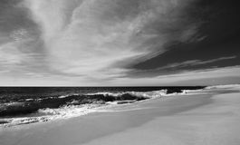 Beach at Todos Santos central Baja California Mexico BCS - black and white Royalty Free Stock Photography