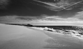 Beach at Todos Santos central Baja California Mexico BCS - black and white Stock Image