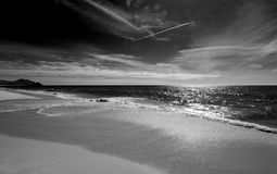 Beach at Todos Santos central Baja California Mexico BCS - black and white Royalty Free Stock Photo