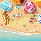 Beach top view background with sunbathers men and vector illustration