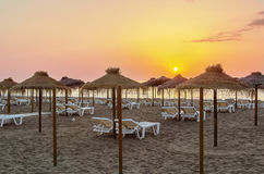 Beach in Torremolinos, Spain. Sunrise. Beach in the resort of Torremolinos, Spain Royalty Free Stock Photos