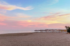 Beach in Torremolinos, Spain. Sunset. Beach in the resort of Torremolinos, Spain Royalty Free Stock Photography