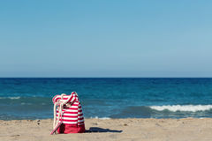 Beach tote on a beach Stock Image