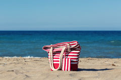 Beach tote on a sandy beach Royalty Free Stock Photography