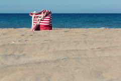 Beach tote on a sandy beach. In summer Stock Images