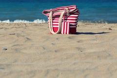 Beach tote on a sandy beach. In summer Stock Photo