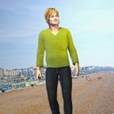 Beach Tourist. 3d render of a beach tourist at a typical European beachfront vector illustration