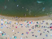 Beach with tourists. Aerial view on the beach with tourists Stock Images
