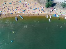 Beach with tourists. Aerial view on the beach with tourists Royalty Free Stock Photography