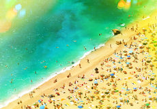 Beach with tourists, sunbeds and umbrellas. holidays background Stock Image