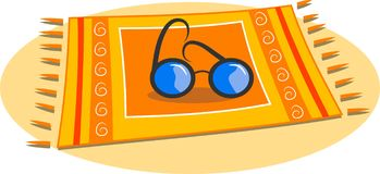 Beach Towel. And sun glasses laying on a beach stock illustration