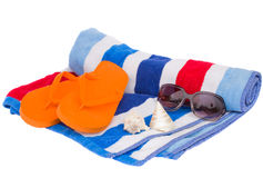 Beach Towel And Sandals Stock Photography