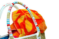 Beach Towel and Bag Royalty Free Stock Images