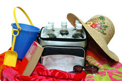 Beach Towel, Cooler, and Sand Pail Stock Photography