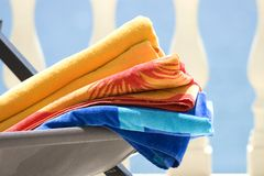 Beach Towels. Colorful Beach Towels at a Spanish Resort Stock Photo