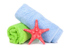 Beach towels and starfish Stock Photography