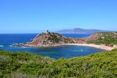 Beach and tower, Sardinia - Italy Royalty Free Stock Photo