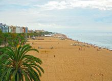 Beach of town Calella, part of the Costa Brava destination in Catalonia, near Barcelona, Spain.  stock images