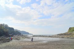 Combe Martin beach in winter royalty free stock images