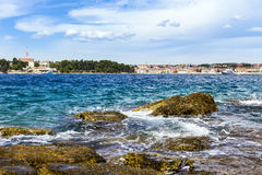 Beach town of Rovinj in Croatia. Royalty Free Stock Images