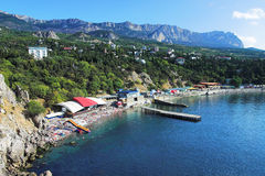 Beach in town Simeiz and Mountain Ai-Petri, Crimea Royalty Free Stock Image