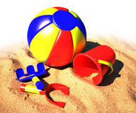 Beach toy kit. Colorful beach toy kit on sand Stock Photo