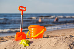 Beach toy set at coast Royalty Free Stock Photography