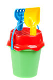 Beach toy set, pail, shovels and rake Royalty Free Stock Photo
