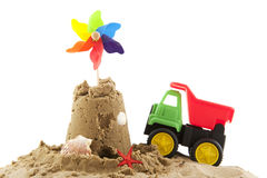 Beach toys. Beach in the summer vacation isolated over white Royalty Free Stock Photos