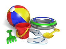 Beach toys. Very high resolution 3d rendering of a set of beach toys isolated over white Royalty Free Stock Image