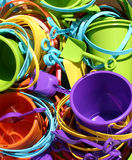 Beach Toys. A bunch of colorful beach toys in the sun stock photo