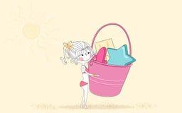Beach toys. Vector illustration of an girl with beach toys Stock Photo