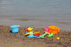 Beach Toys and Calm Sea Royalty Free Stock Photo