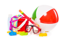 Beach toys. Children's beach toys isolated on white background stock photography