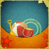 Beach toys on marine background - retro postcard Royalty Free Stock Images