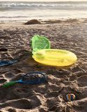 Beach Toys. In the sand on the beach stock image
