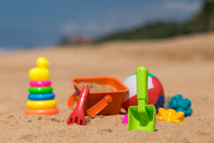 Beach toys in the sand at the beach Royalty Free Stock Images