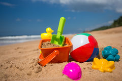 Beach toys in the sand at the beach Royalty Free Stock Photos