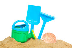 Beach toys in sand Royalty Free Stock Images