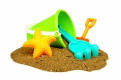Beach toys in sand Royalty Free Stock Image