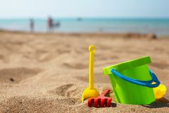 Beach toys in the sand Royalty Free Stock Photo