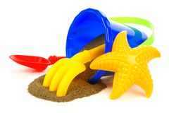 Beach toys with sand Royalty Free Stock Images