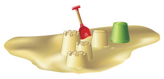 Beach toys and sandcastles royalty free illustration