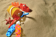 Beach toys on the sandy beach Stock Image