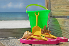 Beach toys at seashore royalty free stock photos