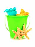 Beach toys and starfish over white Royalty Free Stock Photo