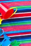 Beach toys on  towel Stock Photography